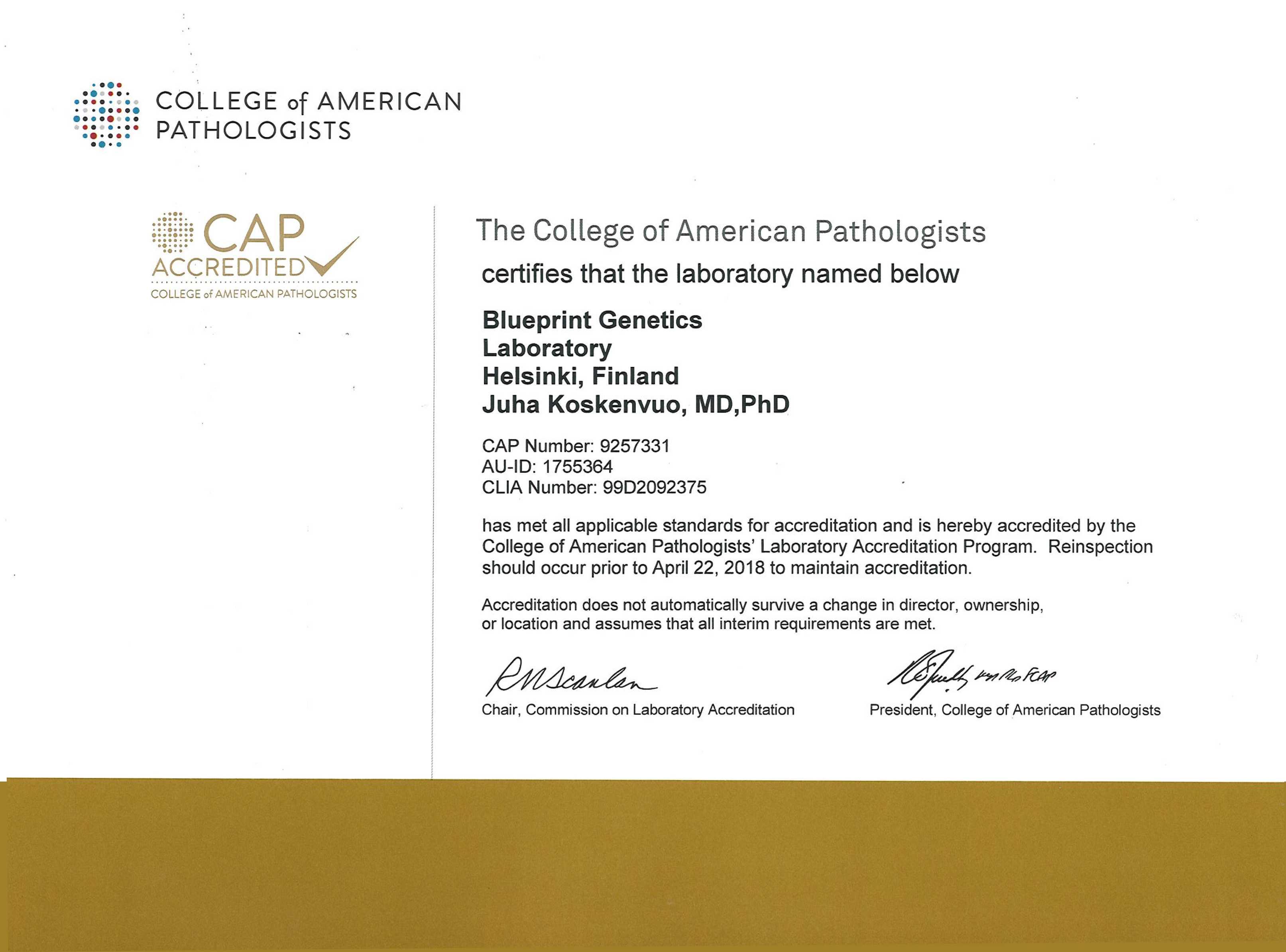 Accreditations certifications blueprint genetics cap accreditation malvernweather Choice Image